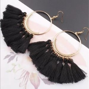 NWT Black Fringe Tassel Round Hoop Dangle Earrings